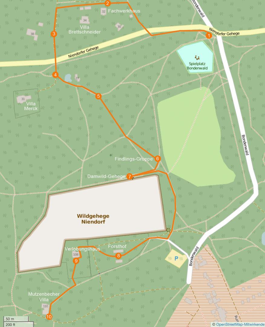 Karte des Niendorfer Gehege rund um das Damwild-Gehege mit gekennzeichneter Route und Stationen des Spaziergangs vom 27. September 2015