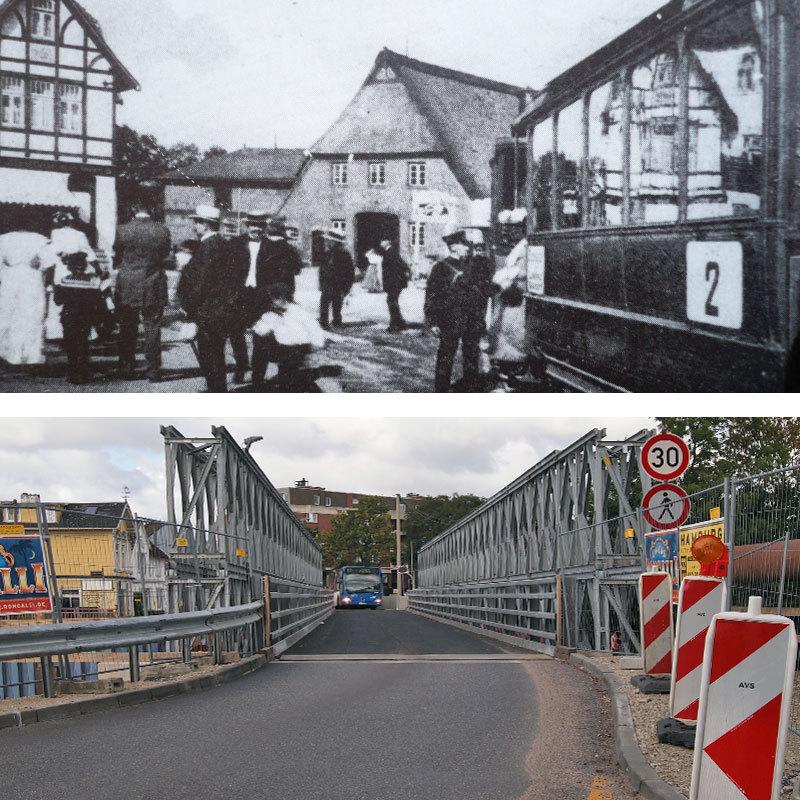 unten: Zurzeit führt der Verkehr über eine Behelfsbrücke über die Autobahn zu den Geschäften in die Frohmestraße, oben: 1913 war hier die Endhaltestelle der Linie 2, die Ausflügler und Pendler von und