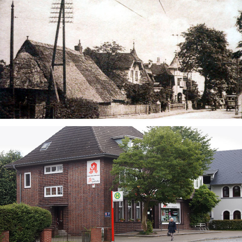 unten: Die erste Apotheke in Schnelsen wurde 1935 eröffnet; oben: Kurz vor 1900 zog das Telefon über Freileitungen in Schnelsen ein