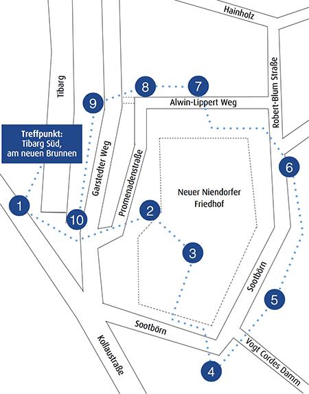 """Rundgang Niendorf """"Ohl Dörp"""" – mit einem Klick auf die Karte, können Sie das Faltblatt des Rundgangs als PDF herunterladen."""