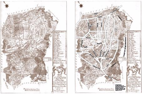 Verkoppelungskarte Hamburg-Niendorf ca. 1788 aufbereitet von Klaus-Peter Heße und Joerg Kilian mit einem Überleger der ungefähren Lage heutiger Straßenzüge und Orte (PDF, 2,2 MB)