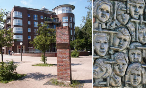 Auf dem Roman-Zeller-Platz erinnert ein Denkmal an die ermordeten Kinder vom Bullenhuser Damm