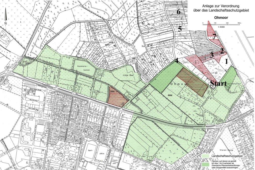 Die Karte zeigt das  Ohmoor mit den Flächen der Loki-Schmidt-Stiftung und den Stationen der Wanderung (zur Vergrößerung bitte auf die Karte klicken)